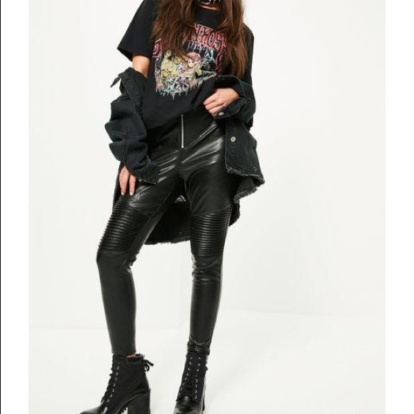 pre order latest sale new authentic Missguided Petite black faux leather leggings